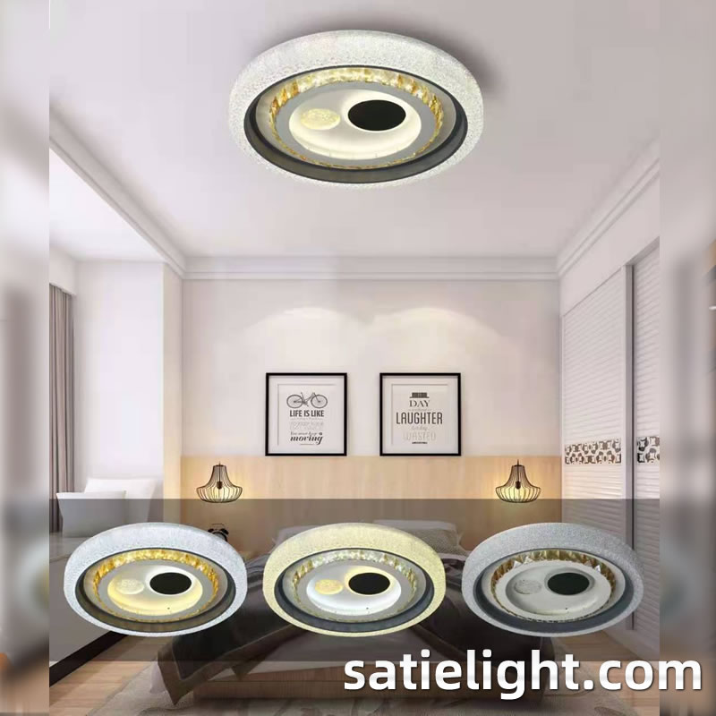 Satie simple modern bedroom lamp LED ceiling lamp acrylic living room round warm remote control dimm